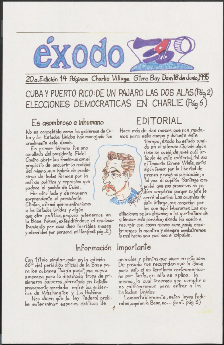 The front page of the twentieth edition of éxodo