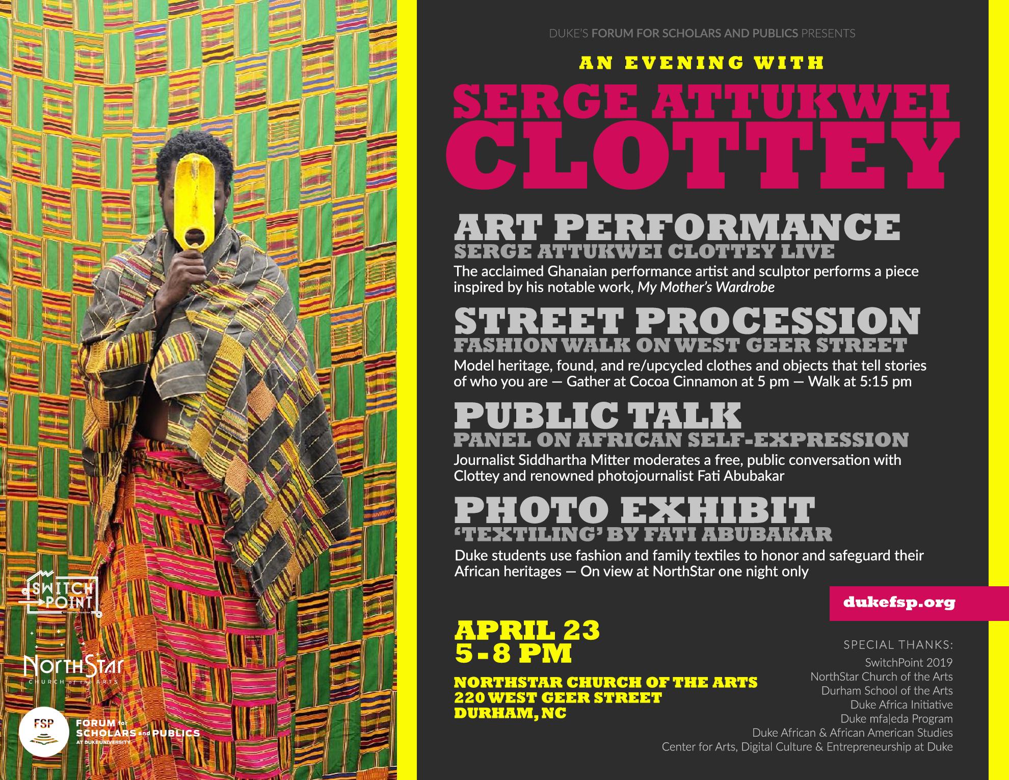 Flyer - An Evening with Serge Attukwei Clottey